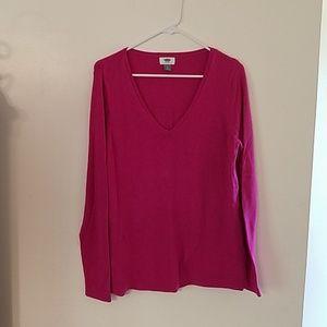 Very pink v-neck sweater